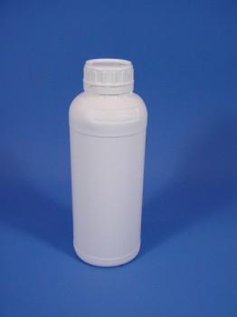 1 Liter Flasche Fluor, rund, weiß,
