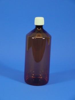 1000 ml Flasche, PET, braun, rund, 40g,